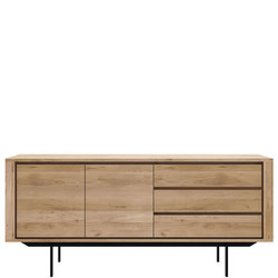 Shadow 2 Door+3 Drawers Sideboard Oak+Black Metal Legs 51387
