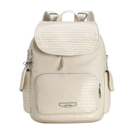 City Pack S Small Backpack Shiny White