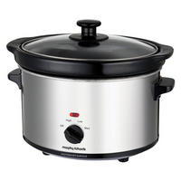 2.5L Oval Slow Cooker Stainless Steel Silver