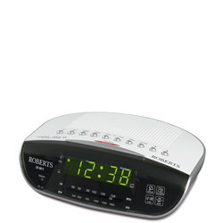 White Clock Radio Silver Tone