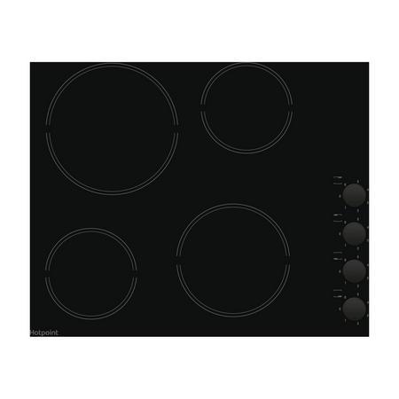 60cm Ceramic Hob Ceramic Hob 4 Cooking Zones Black