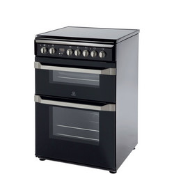 60cm Electric Cooker Double Black Finish Variable Grill Black