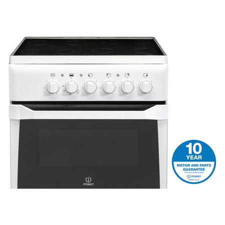 50cm Electric Cooker Twin Cavity White Finish Variable Grill White