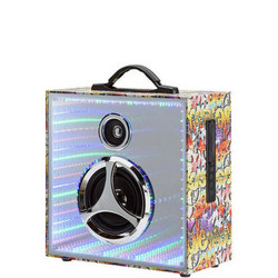 Infinity Pulse Bluetooth Speaker With Mirrored Led Display Silver Tone