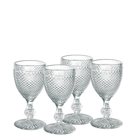 4 Piece Clear Glass Goblet Set Clear