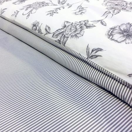 Ticking Stripe Fitted Sheet Silver-Tone