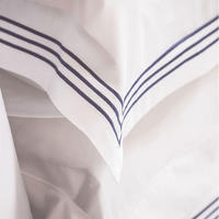Sateen 3 Row Duvet Cover Navy