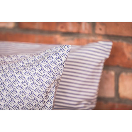 Vintage Blue Tic Standard Pillowcase Pair