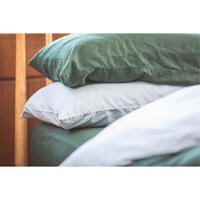 Green Cotton/Linen Standard Pillowcase