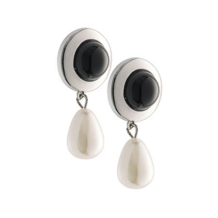 Onyx Pearl Drop Earrings