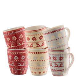 Fairisle 6 Mugs in Hat Box Multicolour