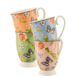 Cottage Garden Footed Mugs Set of 4 Multi Colour