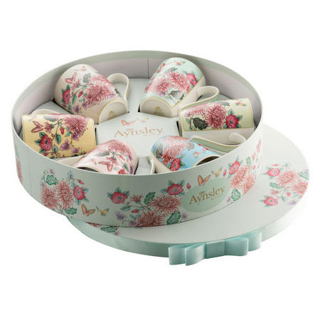 Butterfly Garden Hat Box Set of 6 Mugs