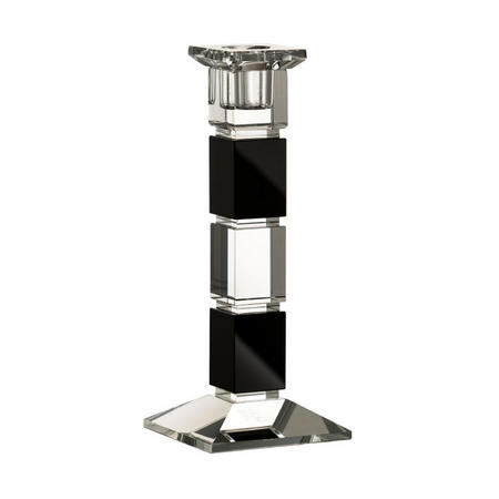 "Deco 8"" Square Candlestick Black"