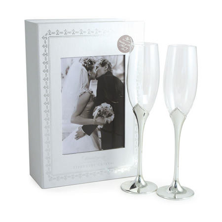 Wedding Leaf Shape Flute Pair Clear