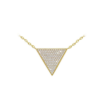 Yellow Gold Pave Triangle Pendant