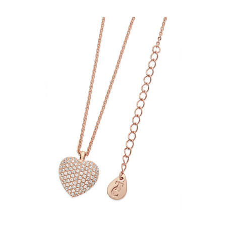 Rose Gold Pave Heart Necklace