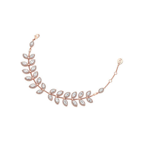 Rose Gold Diamante Leaf Bracelet