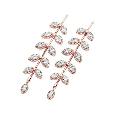 Rose Gold Diamante Leaf Drop Earrings