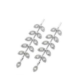 Silver Diamante Leaf Drop Earrings