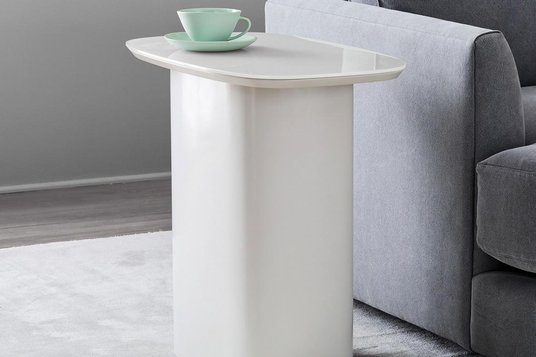 Superellipse Side Table, Salt Lacquer