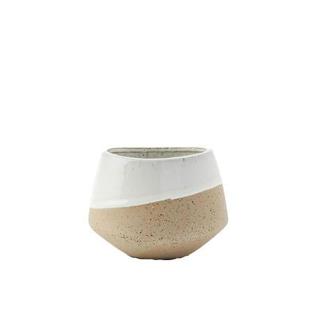Half Dipped Medium Bowl Grey And White Stoneware