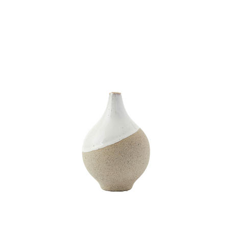 Half Dipped Bud Vase Grey And White Stoneware