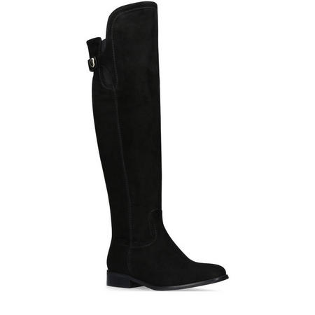 Wing Knee High Boots Black