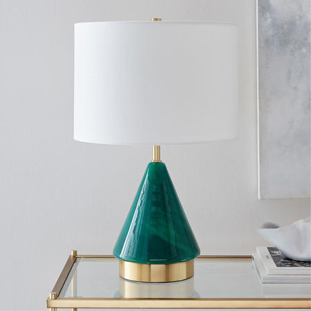 Metalized Glass Small Table Lamp Green