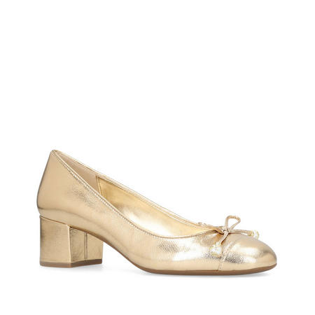 Gia Pearl Mid Pump Court Shoe Gold-Tone