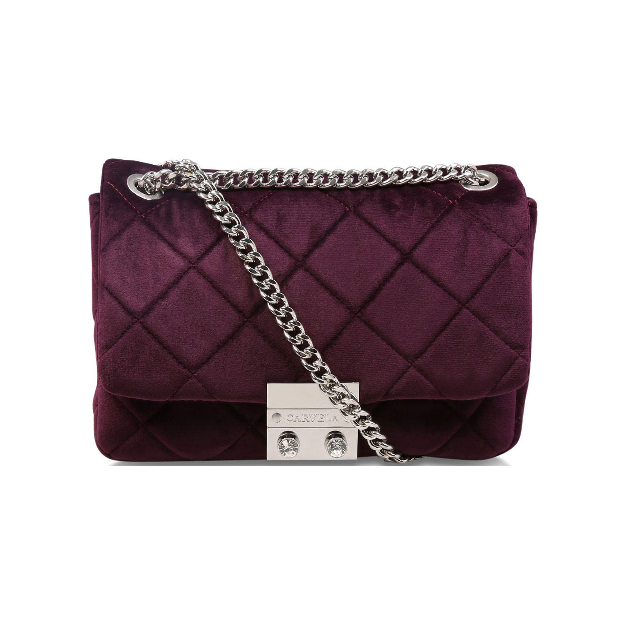 600017599907894150PURPLE: Binky Jewel Lock Shoulder Bag