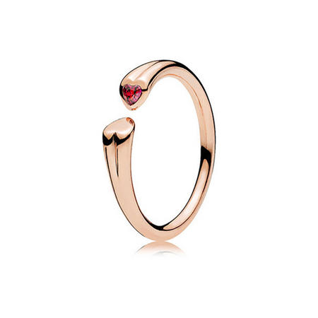 Two Hearts Ring Red