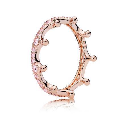 Pink Enchanted Crown Ring Pink Rose Gold