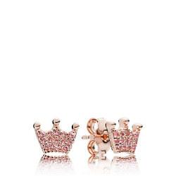 Pink Enchanted Crowns Earrings Pink Rose Gold