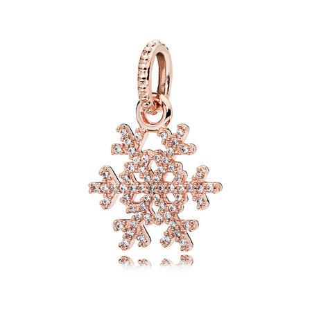 Sparkling Snowflake Pendant Rose Gold