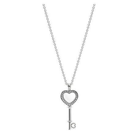 Floating Locket Heart Key Necklace Clear