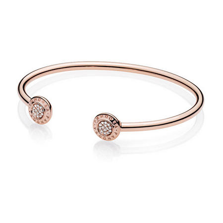Pandora Signature Open Bangle  Rose Gold
