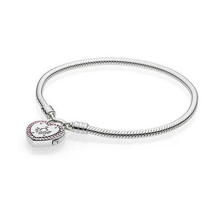 Moments Smooth Silver Bracelet Lock Your Promise Bracelet Pink
