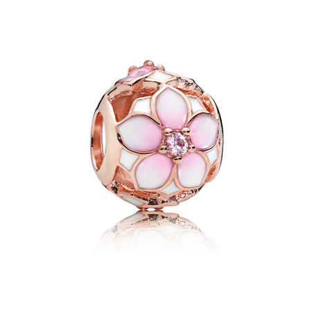 Magnolia Bloom Charm Rose Gold
