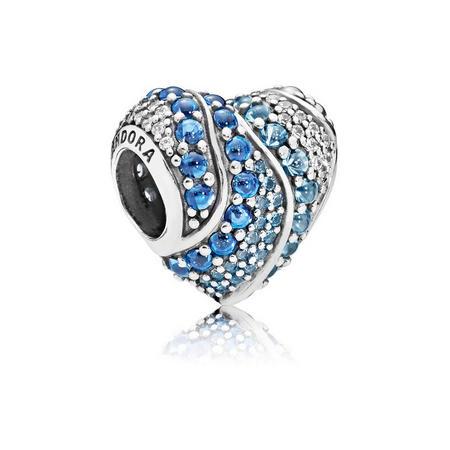 Aqua Heart Charm Blue
