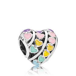 Multi-Colour Hearts Charm Multicolour