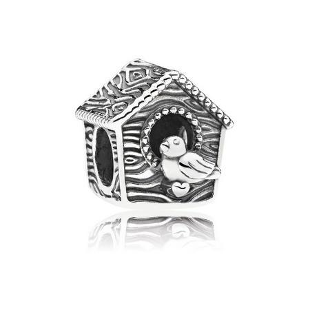 Spring Bird House Charm Silver