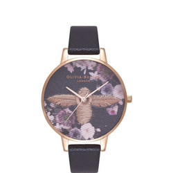 Embroidered Dial Black & Rose Gold