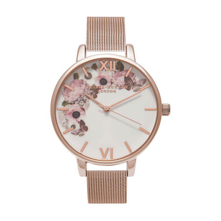 Signature Floral Mesh Watch Rose-Tone