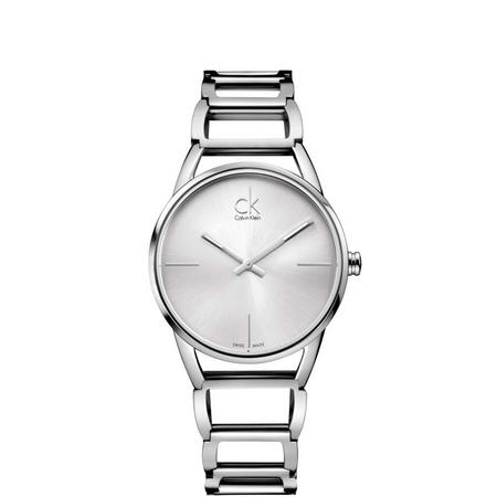 Stately Silver Dial Watch Silver-Tone