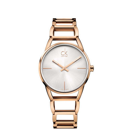 Stately Silver Dial Watch Rose-Tone