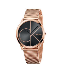 Minimal Black Dial Watch Rose-Tone