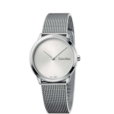 Minimal Silver Dial Watch Silver-Tone