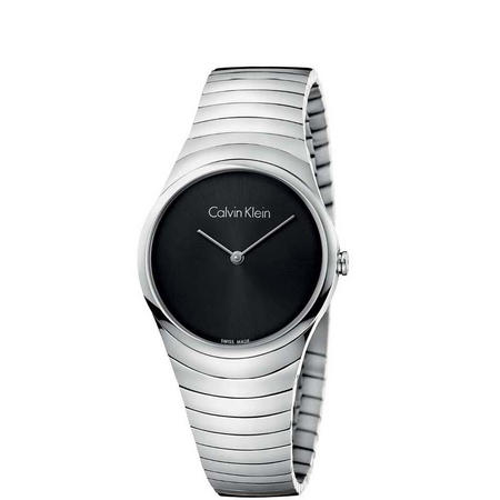 Whirl Black Dial Watch Silver-Tone