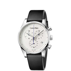 Steadfast Chronograph Silver Dial Watch Black